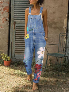 Sleeveless Denim Floral Print One-Piece Jumpsuit Vintage Denim Jean Pants Vacation Casual Jumpsuit