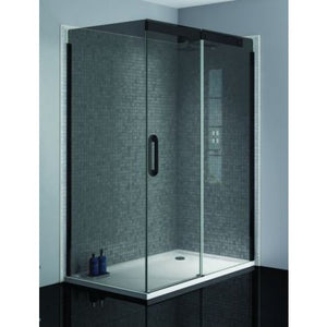 April Prestige2 1400mm Matt Black sliding door 8mm smoked glass Right Hand
