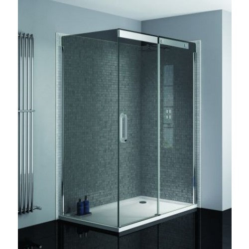 April Prestige2 1200mm sliding door silver frame 8mm smoked glass Right Hand