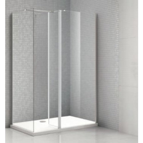 Bathroom Solutions Citylux 8mm Walk in Shower Panel 700mm With 300mm Flipper