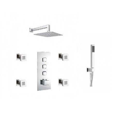 Milan Triple Outlet Shower Pack with Head, Body Jets and Slide Rail Kit Push Button