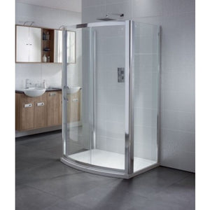 April Identiti2 Bow Sliding Shower Door and Dedicated Tray 6mm Glass 1200mm