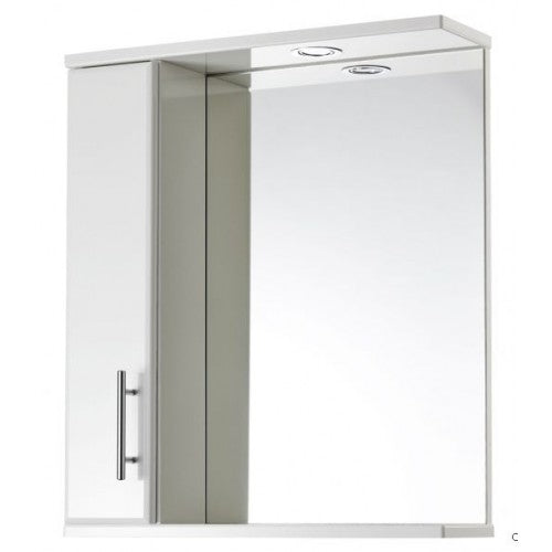 Aquachic White 600mm mirrored wall unit with light.