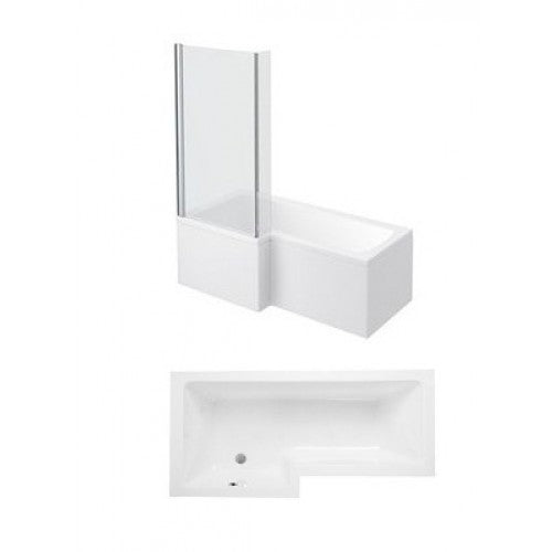 Phoenix Qube L Shaped Shower Bath With Panels and Screen Left Hand