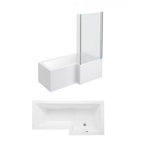 Phoenix Qube L Shaped Shower Bath With Panels and Screen Right Hand