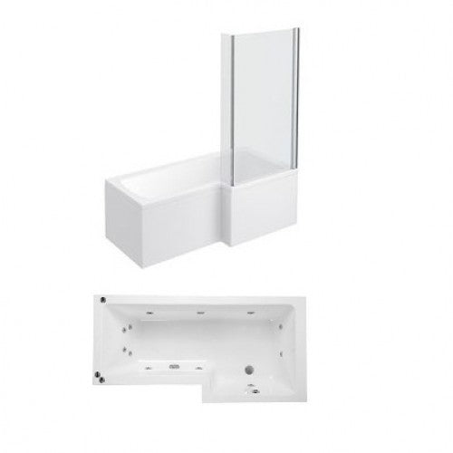 Phoenix Qube L Shaped Shower Bath With Panels and Screen Right Hand Whirlpool System 1
