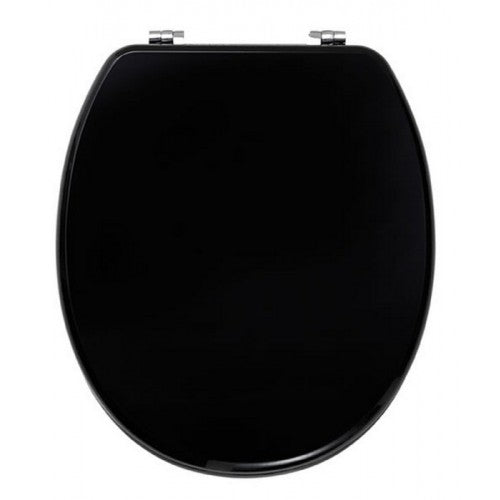 Diamante toilet seat with chrome plated Soft Close hinges HIGH GLOSS BLACK