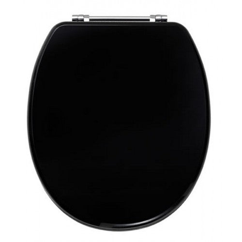 Diamante toilet seat with chrome plated Bar hinges HIGH GLOSS BLACK