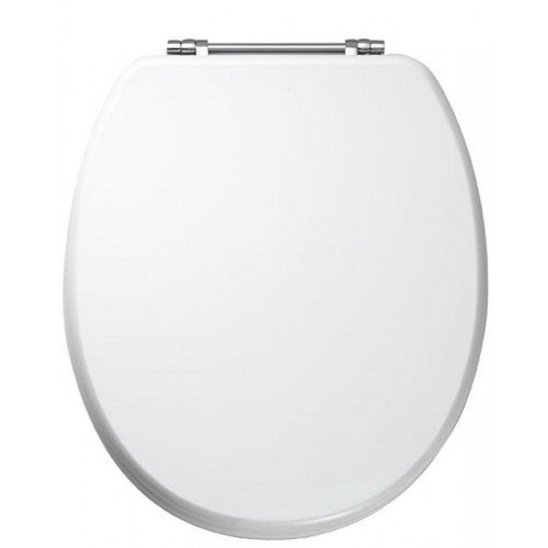 Diamante toilet seat with chrome plated Bar hinges HIGH GLOSS WHITE
