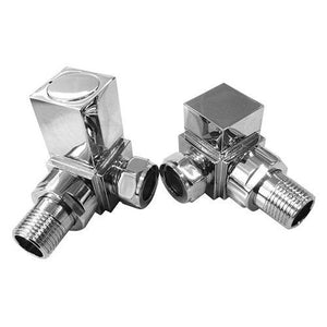 Eastbrook Straight Square Radiator Valves Nickel (Pair)
