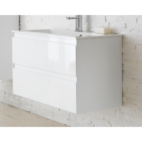 Woodstock Verona 500mm Wall Hung Vanity Unit & Basin High Gloss White vewv50