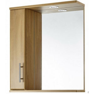 Aquachic Natural Oak 600mm mirrored wall unit with light.