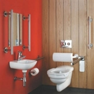 Armitage shanks contour 21 wall hung doc m pack- chrome grab rails
