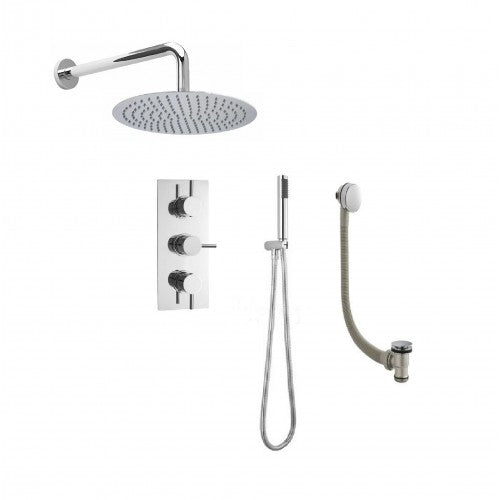 Cruze Triple Shower Valve Rainfall Wall Mounted Head, Handset and Freeflow Bath Filler