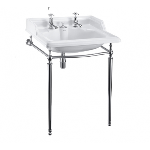 Burlington Classic Basin with Invisible Overflow & Waste and Chrome Wash Stand