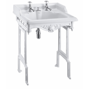 Burlington Classic Basin with Invisible Overflow & Waste and White Aluminium Wash Stand