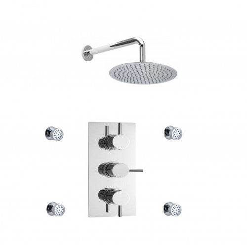 Cruze Triple Concealed Shower Valve with Fixed Shower Head & 4 Body Jets
