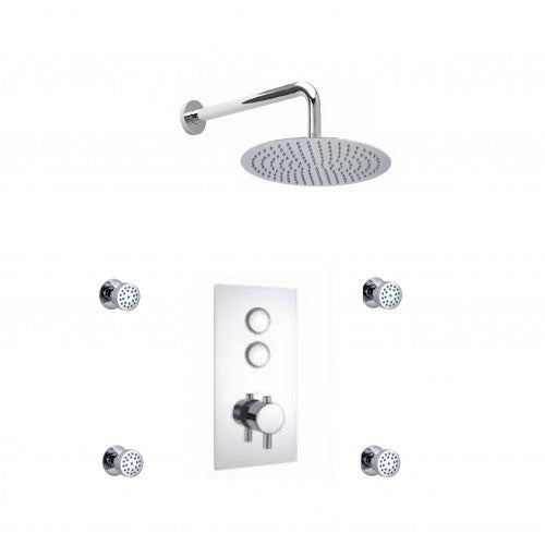Cruze Concealed Valve with Diverter Fixed Shower Head and 4 Body Jets Push Button