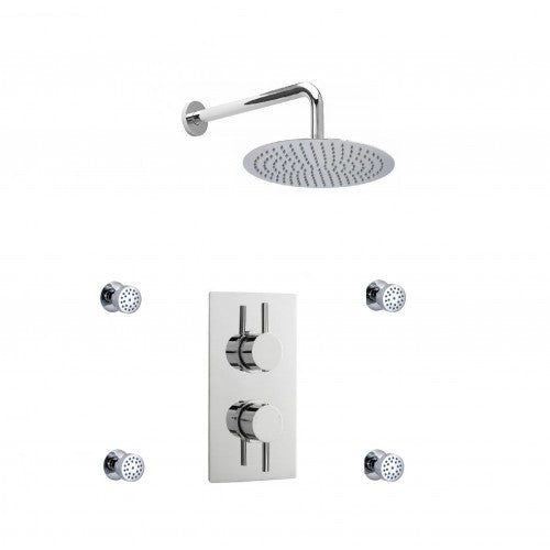 Cruze Concealed Thermostatic Valve with Diverter Fixed Shower Head and 4 Body Jets