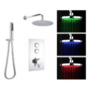Cruze Triple Valve with Round LED Shower Head & Handset Push Button