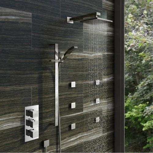 Cubik Thermostatic Triple Valve Complete Shower Set & Body Jets