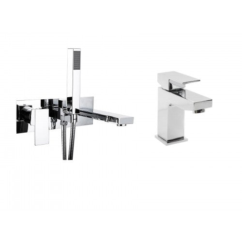Plaza Waterfall Wall Mounted Bath Tap And Basin Tap