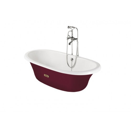 Roca Eliptico Oval cast iron bath with bordeaux red exterior & anti-slip base 533650003