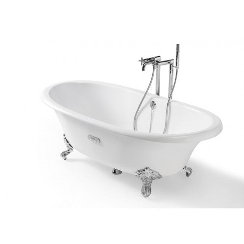 Roca Eliptico Oval cast iron bath with white exterior & anti-slip base 233650007