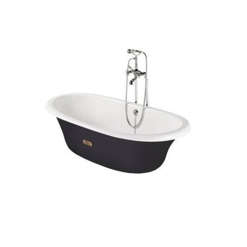 Roca Eliptico Oval cast iron bath with black exterior & anti-slip base 533650002