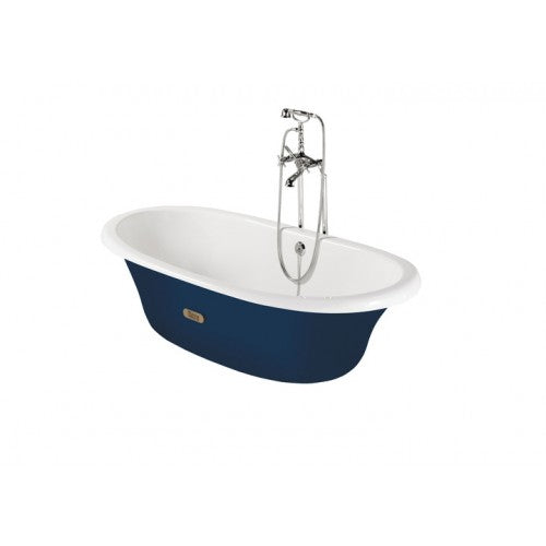 Roca Eliptico Oval cast iron bath with navy exterior & anti-slip base 533650004
