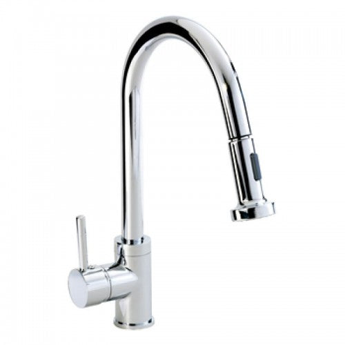 Phoenix Single Lever Round Kitchen Sink Tap With Swan Neck And Pull Out Spout.
