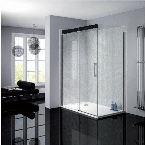 April Prestige2 1200mm sliding door 8mm Matt Black clear glass Left Hand