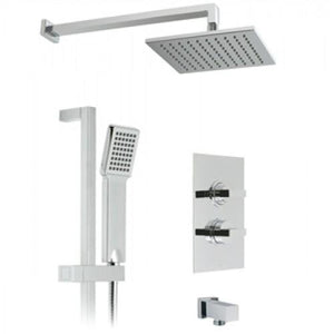 Gallini 2 Outlet Thermostatic Shower with Mix 2 Head, Arm, Single Function Kit