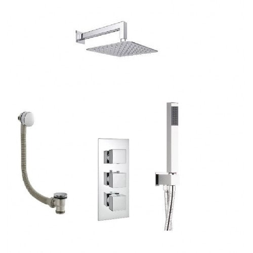 Milan Triple Thermostatic Valve with Square Shower Head,Handset and Bath Waste with Overflow Filler