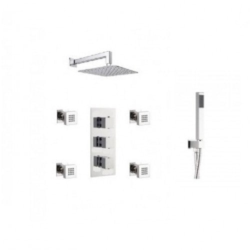 Milan Triple Outlet Shower Pack with Head, Body Jets and Slide Rail Kit