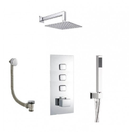 Milan Triple Thermostatic Valve with Square Shower Head,Handset and Bath Waste with Overflow Filler Push Button