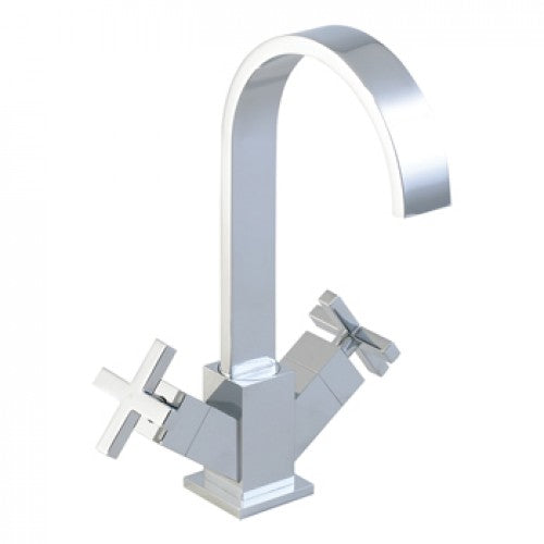 Phoenix Twin Cross Head Control Square Kitchen Sink Mixer Tap With Swivel Swan Neck Spout.