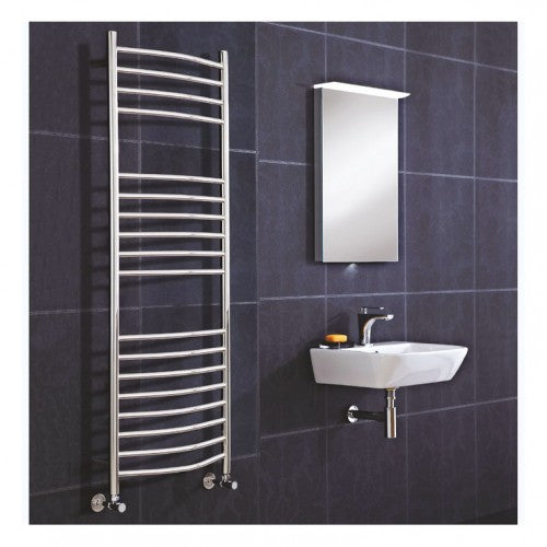 Phoenix Thame Curved Radiator - 800 x 500mm - Stainless Steel