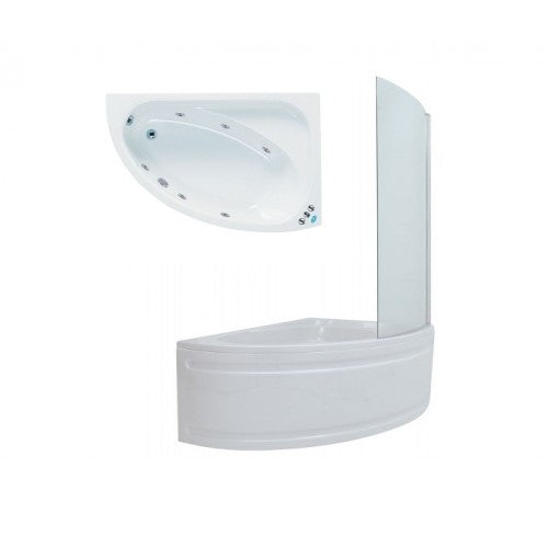 Phoenix Duo Corner Shower Bath Panel And Screen Right Hand Whirlpool System 1