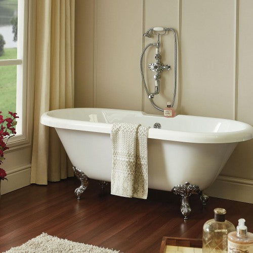 Phoenix Double Ended Roll Top Bath inc Chrome Feet
