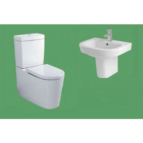 Eastbrook Metro CC WC Suite & Soft Close Seat & Basin & Semi Pedestal