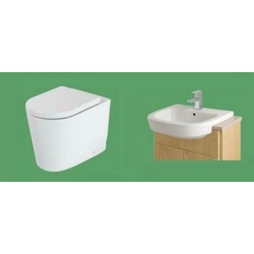 Eastbrook Metro BTW WC Suite & Soft Close Seat & Semi Recessed Basin