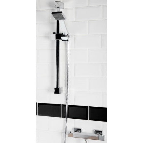 Squire Square Thermostatic Shower Bar Valve with shower rail kit (Fast Fix Mounts)