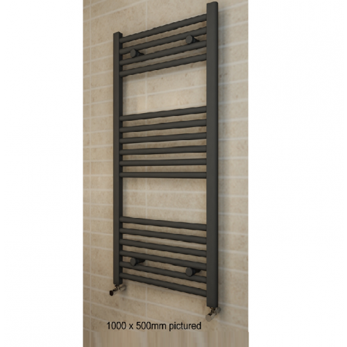 Eastbrook Wingrave Designer Towel Rail 1200 x 500 Textured Anthracite