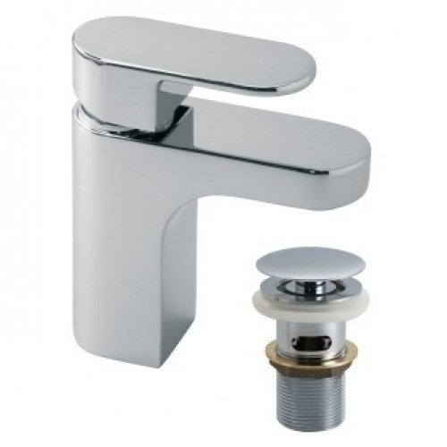 Vado life mono basin mixer smooth bodied with universal basin waste