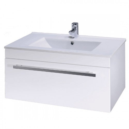 Premier Minimalist Wall Mounted Basin & Unit White 800mm