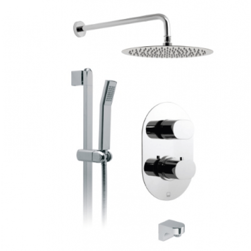 Liff Concealed 2 Outlet Shower with Diverter, Oval Shower Head &Slide Rail Kit