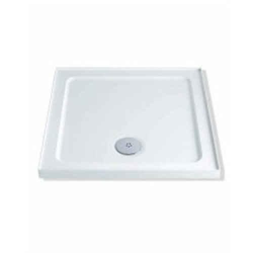Mx 760mm x 760mm durastone low profile upstand square shower tray white.