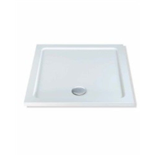 Mx 800mm x 800mm durastone low profile square shower tray white.
