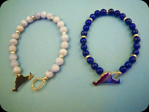 Blue Lace Agate and Lapis Lazuli Beaded Island Bracelets